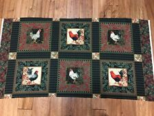 Beautiful French Roosters cotton quilters Fabric Panel Penny Rose 24 x 44