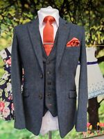 MENS BLUE 3 PIECE WOOL BLEND SUIT TWEED MIX & MATCH SUIT - JACKET VEST TROUSERS