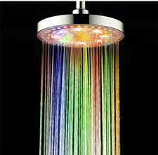 """7 Colors LED Light Rain Bathroom 8"""" Automatic Changing Round Top Shower Head"""