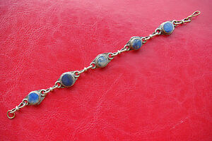 OLD RARE ANTIQUE HANDCRAFT Lapis lazuli BRONZE SILVERED BRACELET MODEL NO.3