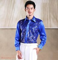Fashion Mens Dance Stage Sequins Long Sleeve Candy Color Foamal Shirt Prom Party