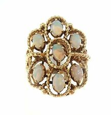 Ring 14k Yellow Gold Cocktail Opal 7 Vintage Statement Crown 12.6g Size 8.5