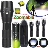 90000LM Tactical Military T6 Zoomable LED Flashlight 18650 Torch Work Light Lamp