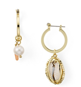Aqua by Cara Accessories Mismatched Shell & Pearl Hoop Drop Earrings Beach Boho