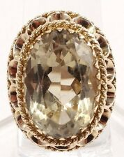 14k Solid Gold Large Citrine Ring Beautiful Vintage Cocktail Ring Free Shipping