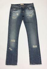 Sexy woman jeans donna usato karol w28 tg 42 strappi slim denim destroyed T3516