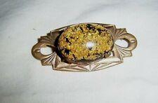 Vintage Brooch pin Black Lucite Gold Foil Flake Cabochon Dome Rare