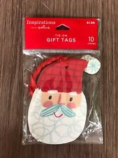 """New 10ct Hallmark Santa Glitter Beard Tie on Gift Tags 3 1/2� x 2 1/2"""""""