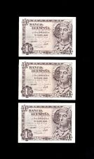 F.C. 3 BILLETES CORRELATIVOS 1 PESETA 1948 , SERIE N , EBC+ , PICOS DOBLADOS .