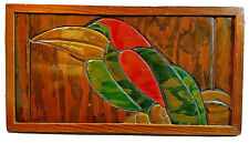"Vintage Folk Art Inlaid Carved Wood Tropical Bird Framed Picture 19"" x 10 1/4"""
