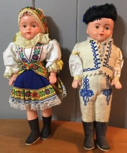 """Vintage Celluloid Costume Dolls, Boy And Girl Pair In Original Box 11.5"""""""