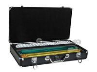 Mah Jongg Set - White/Burgundy Tiles, Modern Pusher Arms, Aluminum Black Mahjong