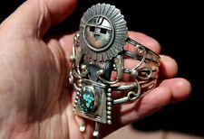 GIANT Vintage Navajo Sterling Silver & Turquoise Stone KACHINA Cuff Bracelet