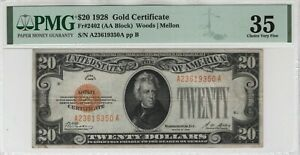 1928 $20 Gold Certificate Note Fr.2402 AA Block PMG Choice Very Fine VF 35