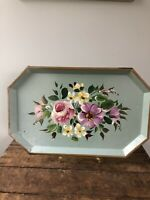 Vintage NashCo Products New York Hand Painted Flower Tray