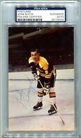 John Bucyk PSA/DNA Auto Autograph Vintage Postcard RARE Boston Bruins HOF 1971