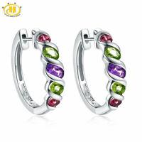 Multicolor Hoop Huggie Earrings for Women Natural 925 Sterling Silver Handmade