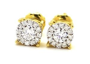 Mens Ladies 14K Yellow Gold Round Cut 7MM Solitaire Diamond Stud Earrings .75Ct