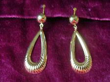 Attractive gold ridged teardrop hooped clip-on earrings