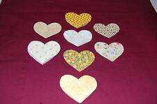 """Lot of 45 PCS Eight Yellow Prints Heart Sew On Appliques 2-3/4"""" X 3"""" #279 NEW"""