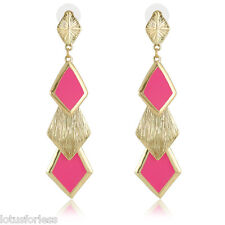 Sexy Neon Hot Pink Enamel and Gold Tone Triangle Dangle Drop Earrings 9 cms
