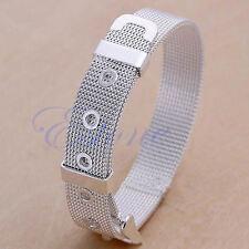 10mm Fashion Silver Plated Watchband Bangle Bracelet