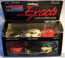 6 EXACTS MONOGRAM HO 1/87 LAMBORGHINI MUSTANG CORVETTE CHEVY BEL AIR FERRARI BOX