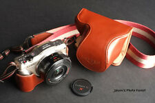 Handmade Genuine real Leather Full Camera Case bag Panasonic GF5 14-42 X Lens