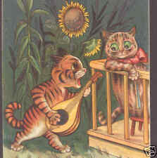 WAIN..DETERMINED CAT SERENADES LADY,NISTER POSTCARD