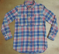 CUBE SUGAR Workwear Blue Pink Multi Color 2 Pocket Cotton Flannel Shirt Medium