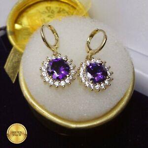 18k Yellow GF Amethyst Hoop Drop Earrings Made With Swarovski Crystals, GIFT