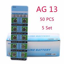 50 PCS  AG13 1.55V 357A LR44W Button Cell Coin Battery Electronics Accessories