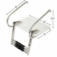 Boat Telescopic Boarding Ladder 3 Steps With ABS Swim Platform Stainless Steel