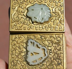 1930's Chinese 2 Gilt Bronze White Jade Carved Plaque Match Safe Holder Box