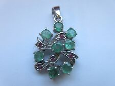 ELEGANT EMERALD & RUBY PENDANT 925 STERLING SILVER
