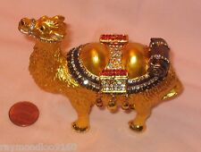 Golden 2 Hump Bactrain Camel With Rhinstones Hinged Trinket Box