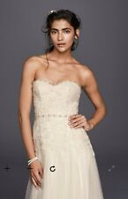 Nwt Melissa Sweet Size 10 Strapless Beaded Ivory Sheath Wedding Gown Dress