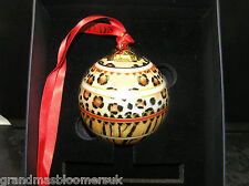 RARE HALCYON DAYS PORCELAIN CHRISTMAS BAUBLE DECORATION ANIMAL PRINT NEW BOXED