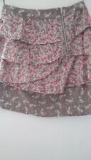 Silk/Cotton Silver/Pink Floral Oasis Tiered Mini Skirt sz8. Sexy! Pulled seams.