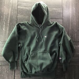 Vintage 90's Champion Reverse Weave Hooded sweatshirt Hoodie Dark Green XL