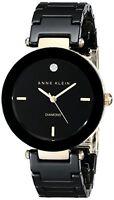 Anne Klein Womens Black Ceramic Bracelet Watch W/ Diamond Accent