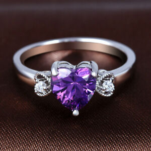 Women'S Fashion Silver Crystal Heart Wedding Engagement Jewelry Ring Size 10