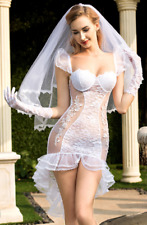Perspective sexy lingerie bridal outfit white glamorous wedding dress
