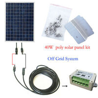 """ECO 40W Solar Panel System Kit with Solar Controller + MC4 & 35"""" Cable + Bracket"""