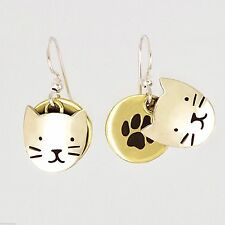 Far Fetched KITTY Face & Paw EARRINGS CAT Kitten Mima & Oly Dangle - Gift Box
