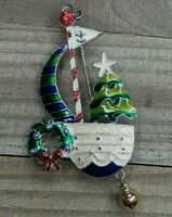 Silver Tone Christmas Tree Wreath on Sailboat w/ Dangling Bell Brooch