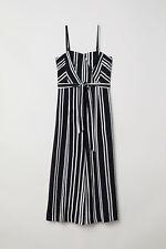 NWOT H&M BLACK WHITE STRIPE NAUTICAL CULOTTES BANDEAU JUMPSUIT PLAYSUIT 10 6 38
