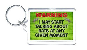 Fun Rat Lover Gift - Warning I May Start Talking About Rats - Novelty Keyring