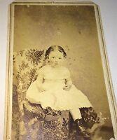 Antique Civil War Era Adorable Victorian Fashion Little Girl! Cute CDV Photo! US