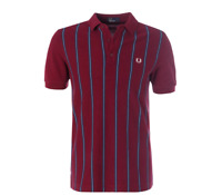 Fred Perry Men's Stripe Front Pique Polo Shirt Short Sleeved Top M2579 Rosewood